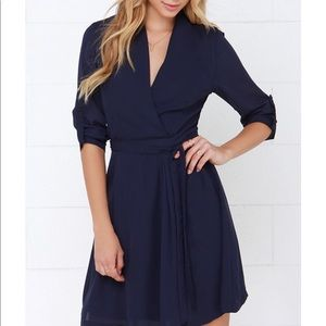 NEW Lulu's Navy Blue Wrap Dress